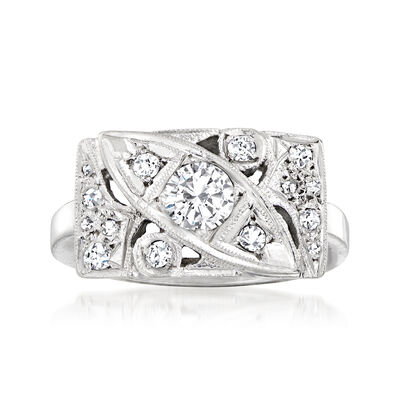 C. 1950 Vintage .66 ct. t.w. Diamond Cocktail Ring in 14kt White Gold