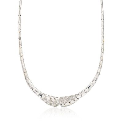 C. 1980 Vintage 1.75 ct. t.w. Diamond Basketweave Motif Necklace in 18kt White Gold, , default