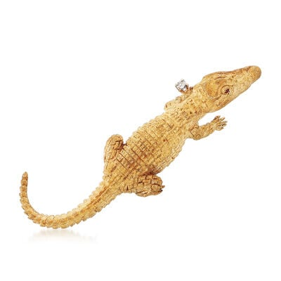 C. 1990 Vintage 18kt Yellow Gold Textured Alligator Pin, , default