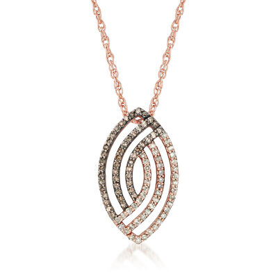 C. 1990 Vintage .50 ct. t.w. White and Champagne Diamond Swirl Pendant Necklace in 10kt Rose Gold, , default