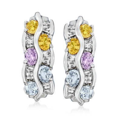 C. 1990 Vintage 2.00 ct. t.w. Multicolored Sapphires and .65 ct. t.w. Diamond Wavy Earrings in 14kt White Gold