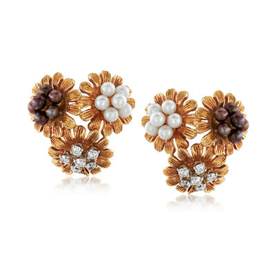 C. 1960 Vintage Multicolored Cultured Pearl and .60 ct. t.w. Diamond Flower Earrings in 18kt Yellow Gold, , default