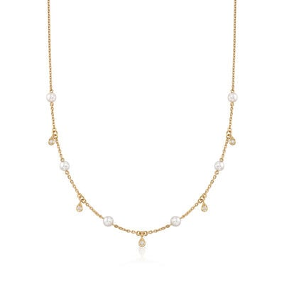 Mikimoto 4.5mm A+ Akoya Pearl Station Necklace with .11 ct. t.w. Diamonds in 18kt Yellow Gold, , default