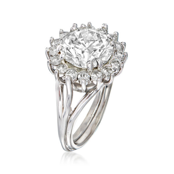 Majestic Collection 5.03 ct. t.w. Diamond Halo Ring in 18kt White Gold. #933652