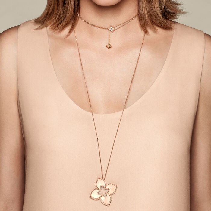 """Roberto Coin """"Venetian Princess"""" .20 ct. t.w. Diamond Double Chain Flower Pendant Necklace in 18kt Rose Gold"""
