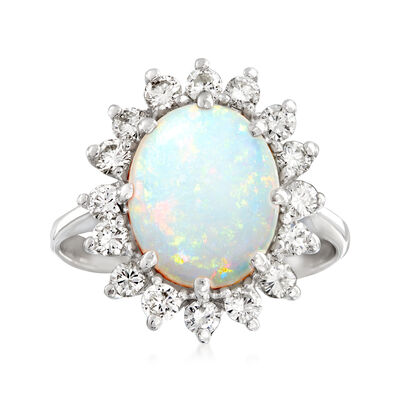 C. 1970 Vintage Opal and .85 ct. t.w. Diamond Ring in 14kt White Gold, , default