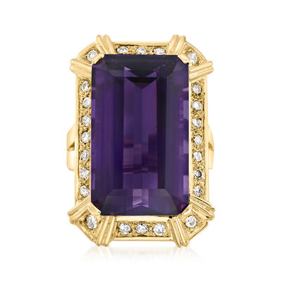 C. 1990 Vintage 17.50 Carat Amethyst and .75 ct. t.w. Diamond Cocktail Ring in 14kt Yellow Gold