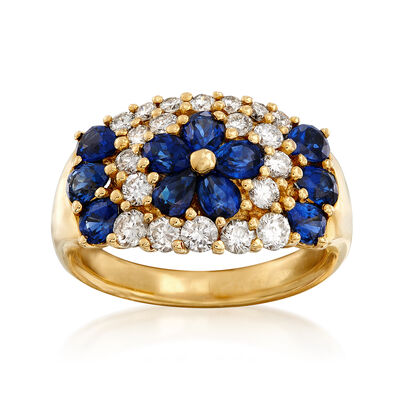 C. 1990 Vintage 2.18 ct. t.w. Sapphire and .86 ct. t.w. Diamond Flower Ring in 18kt Yellow Gold