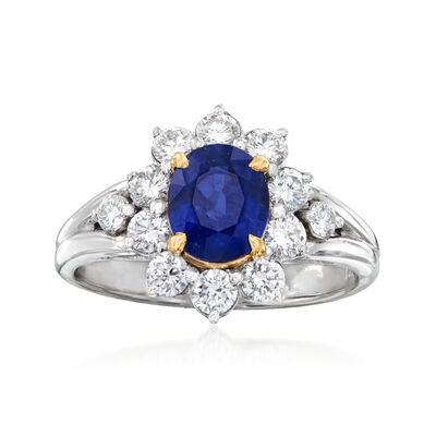 C. 1990 Vintage 1.65 Carat Sapphire and .71 ct. t.w. Diamond Ring in Platinum and 14kt Gold