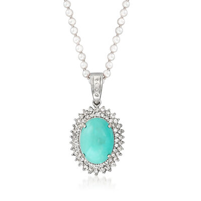 C. 1980 Vintage Turquoise and 1.40 ct. t.w. Diamond Pendant Necklace with 2.8mm Cultured Pearls in 14kt White Gold