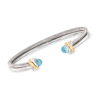 "Phillip Gavriel ""Italian Cable"" .80 ct. t.w. Blue Topaz Cuff Bracelet in Sterling Silver and 18kt Yellow Gold, , default"