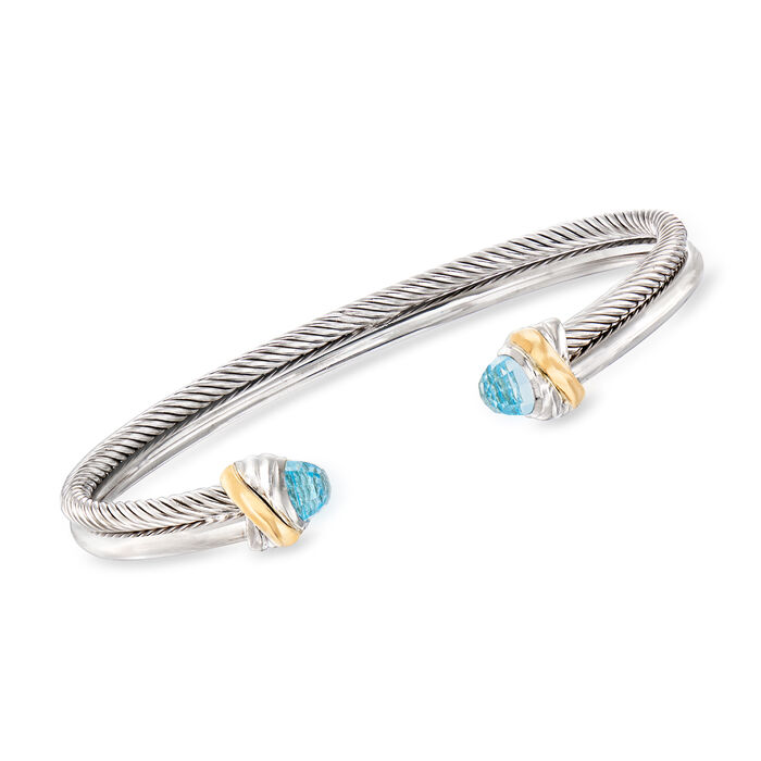 """Phillip Gavriel """"Italian Cable"""" .80 ct. t.w. Blue Topaz Cuff Bracelet in Sterling Silver and 18kt Yellow Gold"""