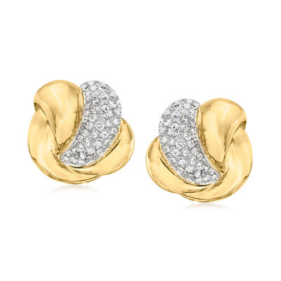 C. 1980 Vintage 5.00 ct. t.w. Diamond Curve Earrings in 14kt Yellow Gold