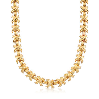 """C. 2000 Vintage Tiffany Jewelry """"Schlumberger"""" X-Necklace in 18kt Yellow Gold, , default"""