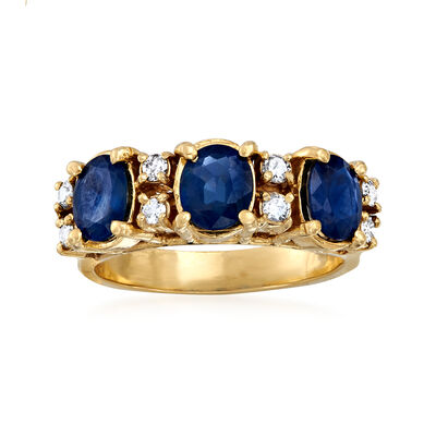 C. 2000 Vintage 2.00 ct. t.w. Sapphire and .24 ct. t.w. Diamond Ring in 14kt Yellow Gold, , default