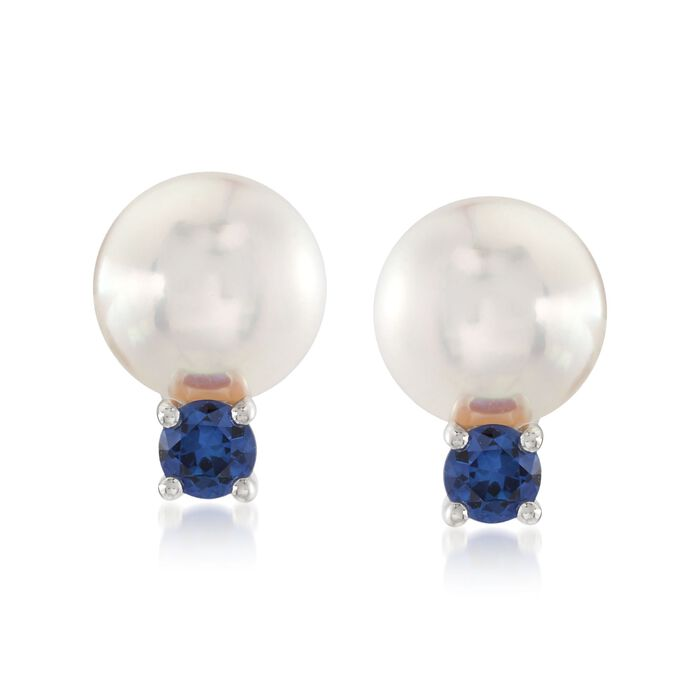 Mikimoto Everyday Essentials 7.5-8mm A+ Akoya Pearl and .26 Carat Total Weight Sapphire Drops in 18-Karat White Gold