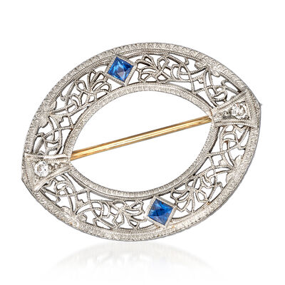 C. 1950 Vintage .20 ct. t.w. Simulated Sapphire Filigree Pin with Diamond Accents in 14kt White Gold, , default
