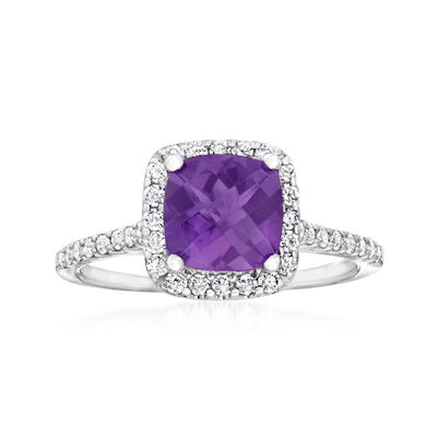 C. 2000 Vintage 1.80 Carat Amethyst Halo Ring with .44 ct. t.w. Diamonds in 18kt White Gold