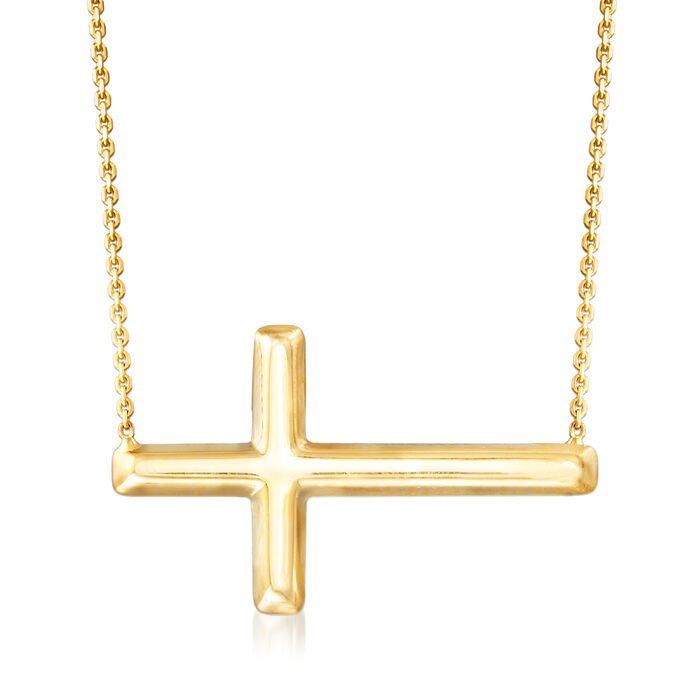 14kt Yellow Gold Sideways Cross Necklace #796405